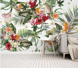 Tropical Rain Forest Cactus Flowers Pattern Wallpaper Mural