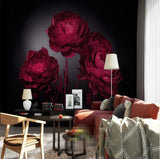 red peonies floral wall paper