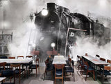 old style steam engine train mural