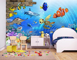 cartoon underwater world mural