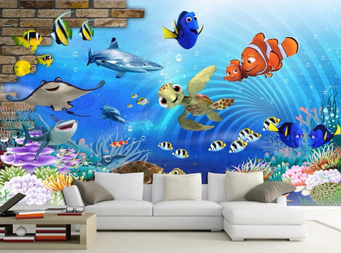 cartoon nemo wall mural