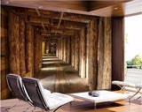 wood tunnel expansion space wall mural