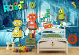 cartoon robots wall mural