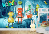 cartoon robots kids mural