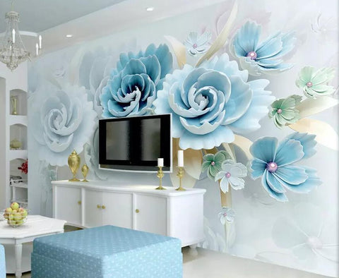 3D relief flower wallpaper
