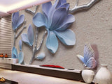 3d orchid wall mural