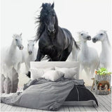 black and white running horses mural