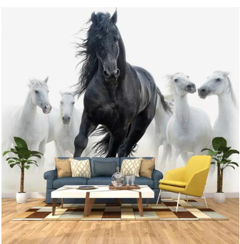black and white horses wall mural