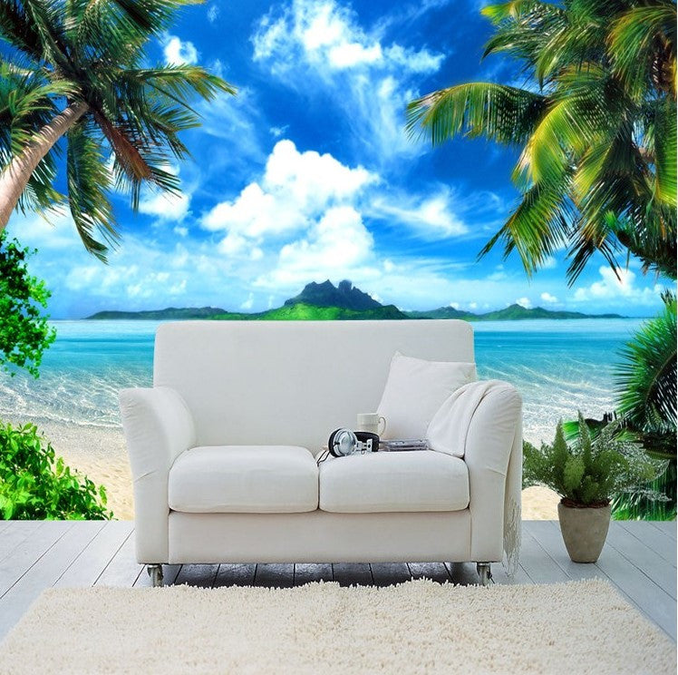 Beach Island: 3d Tropical Island Beach Wallpaper For Walls Palm Trees
