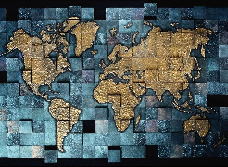 Blue And Gold Decorative World Map For Home Or Business