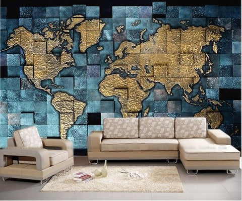 Blue and gold decorative world map for home or business custom mural world map wallpaper gumiabroncs Gallery