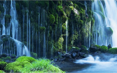 3d green forest waterfall wallpaper high quality nature photo mural