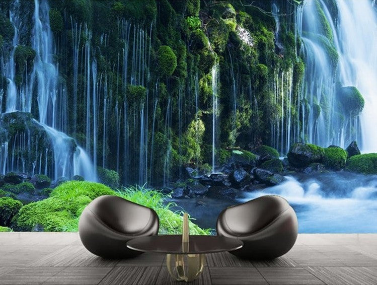 Forest Waterfall Natural Scenery Wallpaper Wall Mural