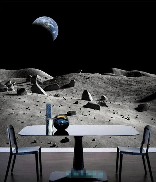 Calculate Wallpaper For One Wall: 3D Moon Surface Earth View Custom Wallpaper Mural For Home