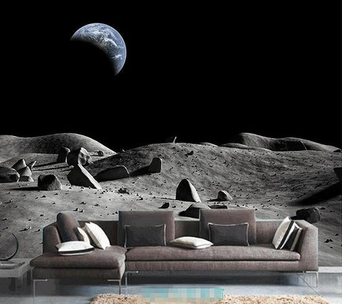 3d Moon Surface Earth View Custom Wallpaper Mural For Home