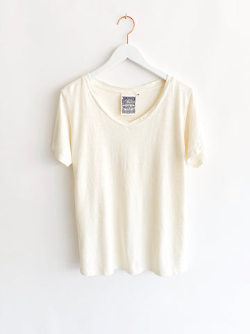 Jungmaven - Paige V-Neck - Washed White