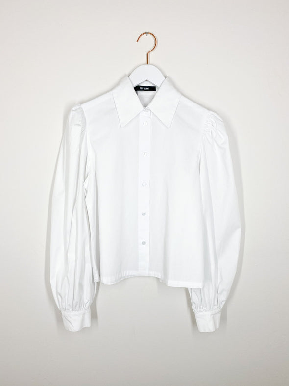 Toit Volant - Cropped Button Up Shirt - Snow White
