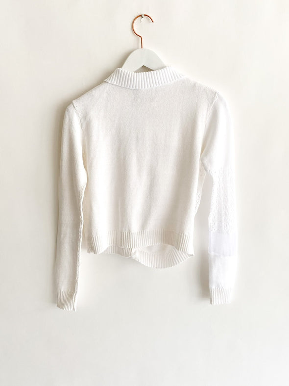 Lou De Bètoly - Distorted Knitted Cardigan - White