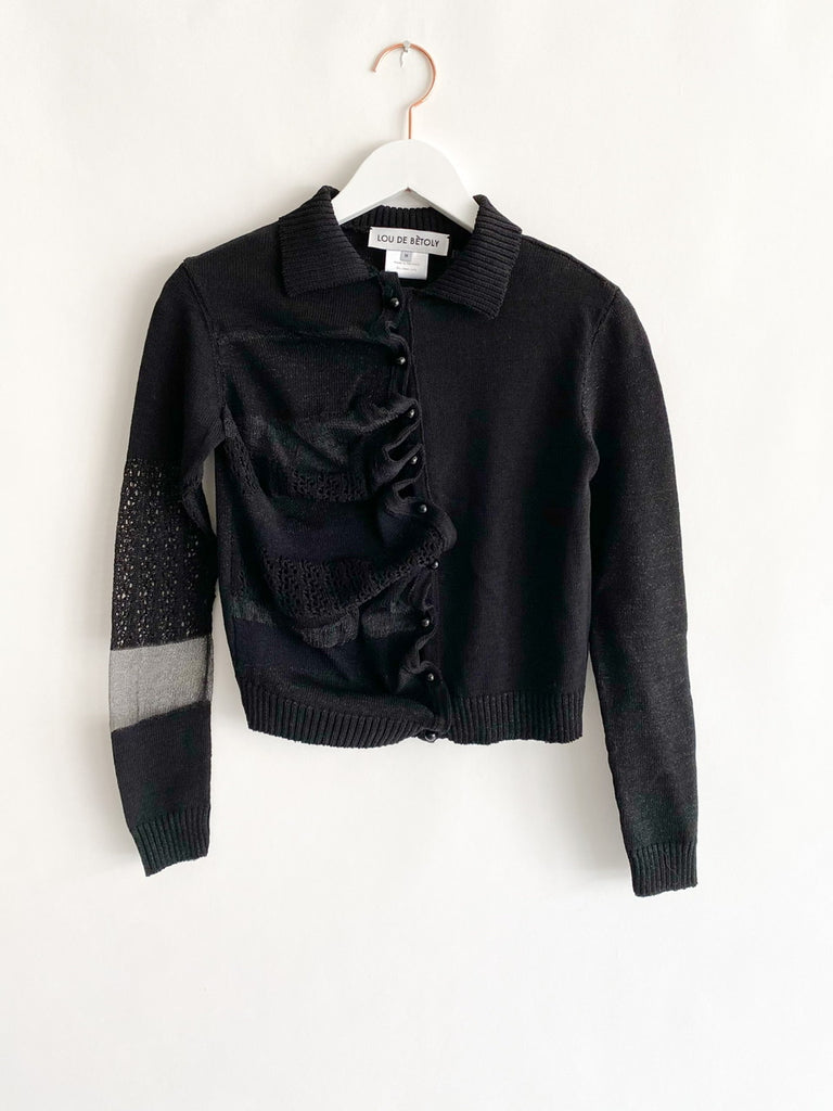 Lou De Bètoly - Distorted Knitted Cardigan - Black