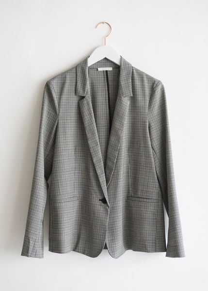 6397 Mini Lapel Blazer - Black/ White Plaid