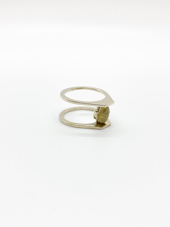 Faeber - Zaun Ring - White Gold & Rutilated Quartz