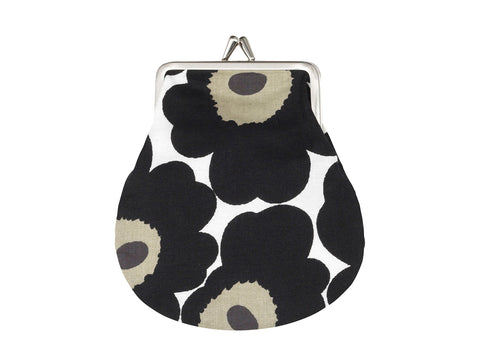Marimekko Kioski's black and white Unikko printed coin purse with metal frame