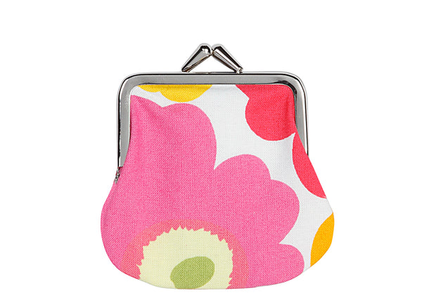 """Marimekko Kioski's mini cotton coin purse with multicolour (poppy) pattern printed and silver-tone claspe closure """