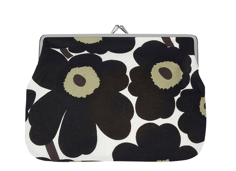 """Marimekko Kioski's cotton multipurpose purse with black and olive  (Unikko) poppy pattern and silver-tone metal frame """