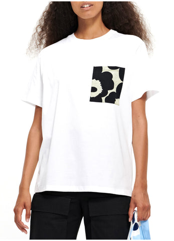 """Marimekko Kioski's minimalist unisex white cotton t-shirt with short sleeves  and a white and black floral printed breast pocket """