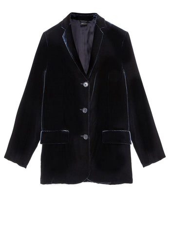 THREE-BUTTON JACKET IN SMOOTH SILK/VISCOSE VELVET