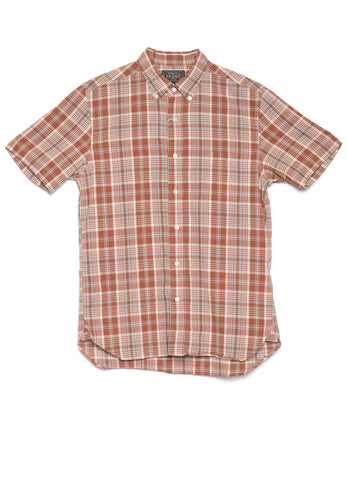 SHORT SLEEVE BUTTON-DOWN COTTON LINEN CHECK SHIRT