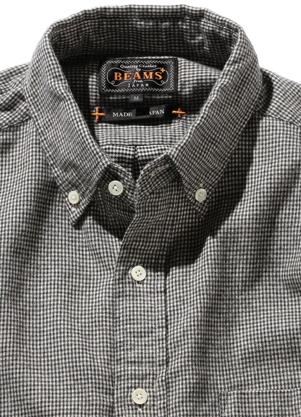 BUTTON DOWN SHAGGY HOUNDSTOOTH SHIRT
