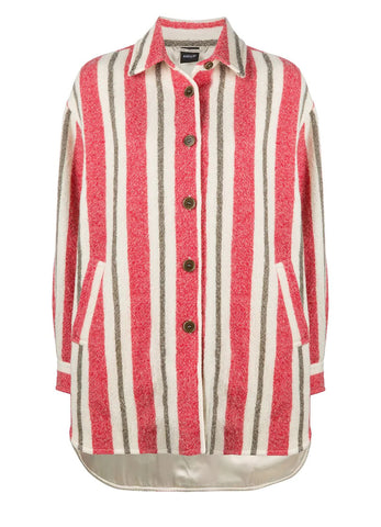 STRIPED PATTERN VIRGIN WOOL COAT