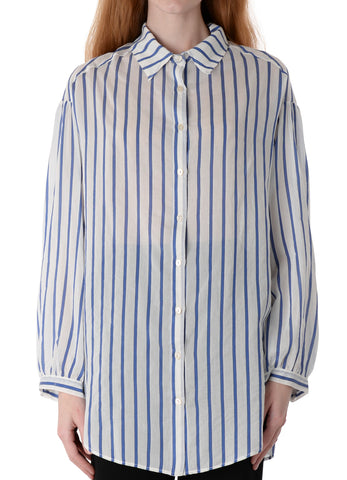 6053 OVERSIZED STRIPED SILK COTTON VOILE SHIRT