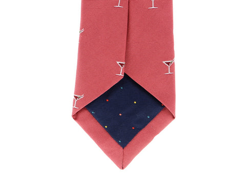 COCKTAIL MOTIF NARROW SILK TIE