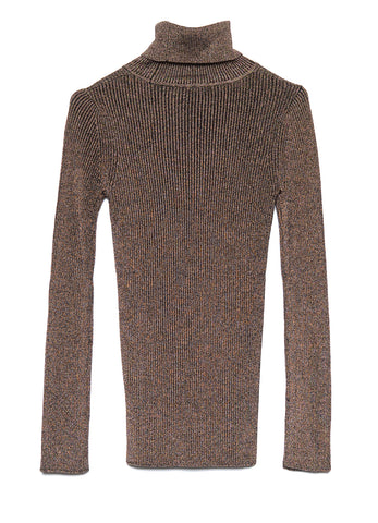 7836 RIBBED MERINO WOOL LUREX TURTLENECK SWEATER