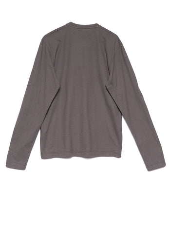 BRUSHED COTTON JERSEY GRANDDAD-NECK TOP