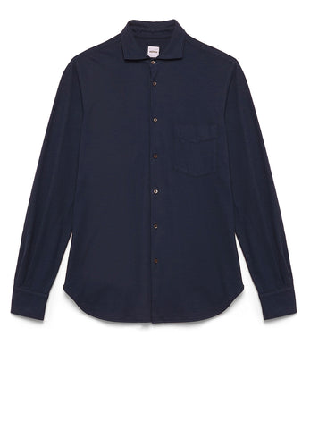 GARMENT-DYED SHIRT IN BRUSHED COTTON JERSEY