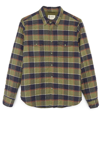 PADDED DOUBLE-BREASTED SHIRT IN BRUSHED COTTON TWILL