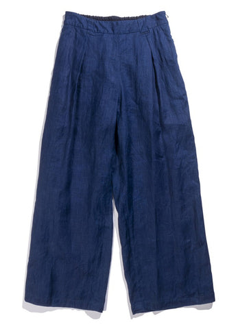 INDIGO DYED LINEN ONE TUCK RELAX PANTS