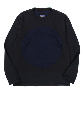INDIGO YARN DYED DUAL LAYERED JERSEY BIG CIRCLE CREW NECK LS PULLOVER