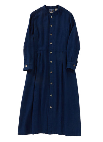 YABANE DOBBY STAND-COLLAR DRESS