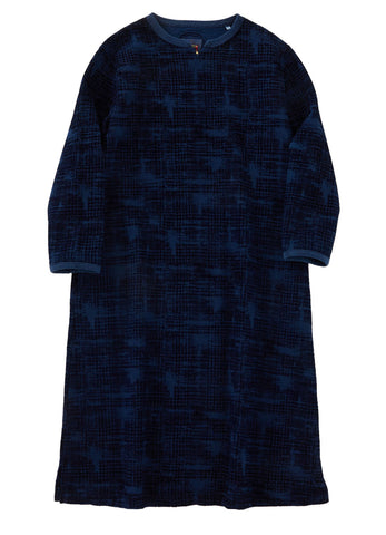 HAND DYED 'OBORO KOUSHI' FLOCKY PRINT SWEAT DRESS