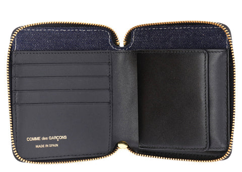 DENIM LEATHER ZIP WALLET