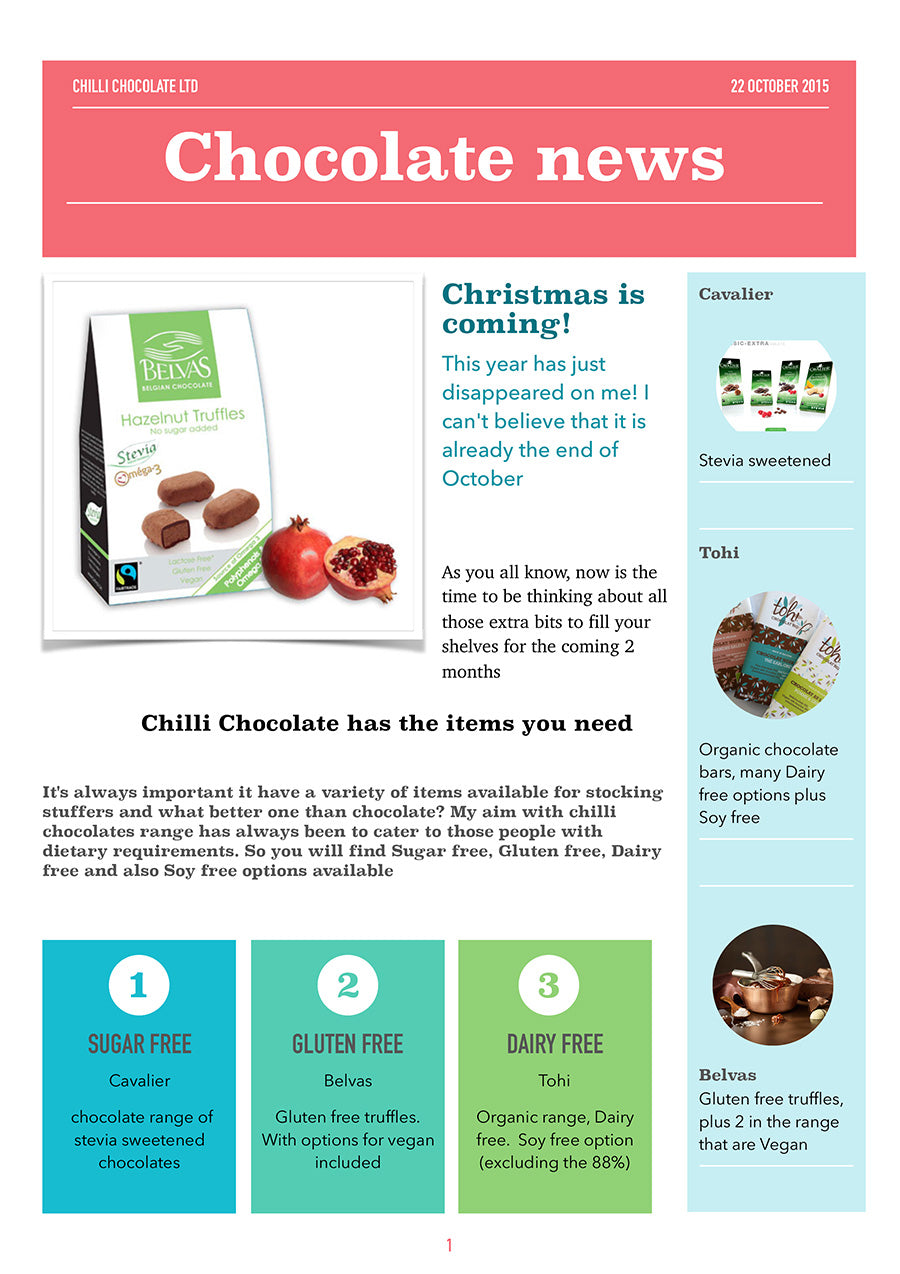 Chocolate Newsletter - Oct 23, 2015