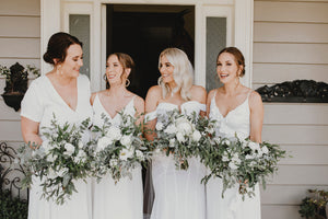 Bride and bridemaids with modern style bouquets. Auckland Wedding Florist