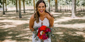 Bride with colourful bouquet. Wedding Flowers Auckland