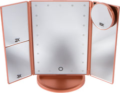 Portable Led Lighted Makeup Mirror 4 Rose Gold Mirrors
