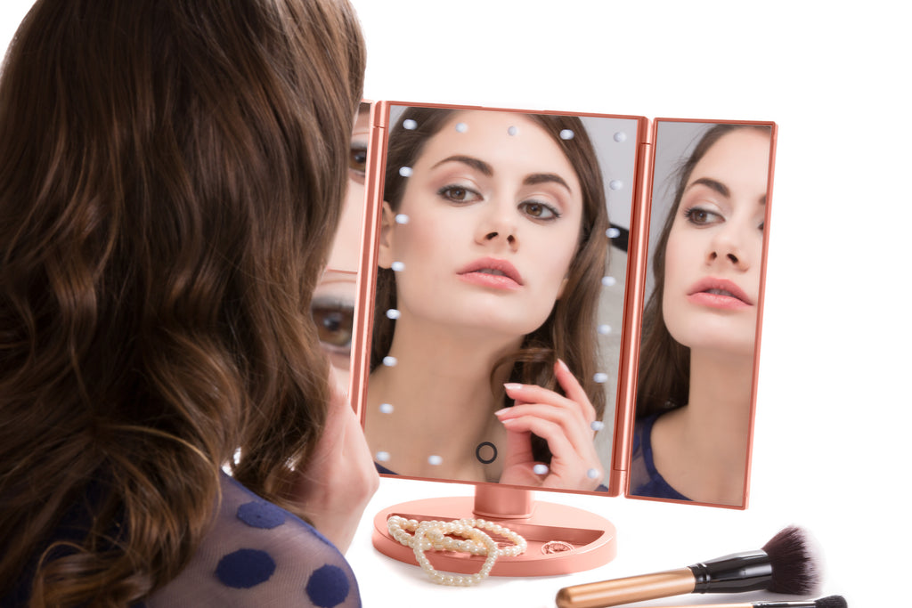 4-in-1 Portable LED Lighted Makeup Mirror - 4 Rose Gold Mirrors in One (1X, 2X, 3X, 10X) Powered by USB or Batteries (included)