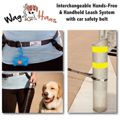 Hands Free Dog Leash Set - Running Leash also Good for Hiking and Biking, Adjustable Belt from 30-52""